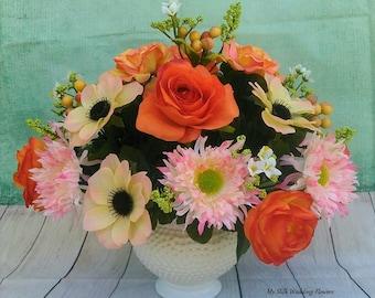 Roses, Daisies, Ranancules, Poppies, Yellow, Orange Two -Tone Silk Floral Arrangement, Centerpiece