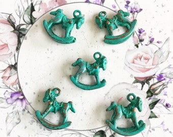 Handpainted Verdigris Patina Rocking Horse Charms (18054) - 15x14mm