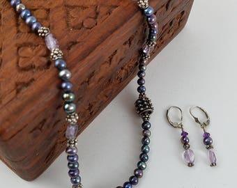 Vintage necklace earring set metallic purple and grey beaded necklace purple bead earrings jewelry set PD2843