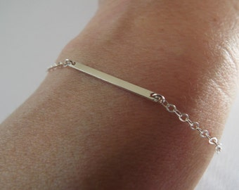 Sterling Silver bar bracelet - 925 dash line thin bracelet - minimalist layering bracelet - dainty silver bar jewelry