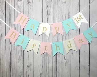 Pink Mint Birthday, 1st Birthday Banner, Happy Birthday, Pastel Birthday Banner, Cake Smash Photo Prop, Sweet 16 Party, Girl Birthday Party