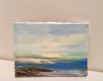 Beach Study - Small Oil Painting  - Beach  - Oil Painting- Handstretched Stapled Canvas- Original- 6 x 8