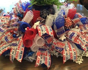 Patriotic center piece red, white and blue
