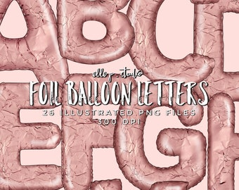 Illustrated Foil Balloon Letters/Clipart Bundle / NOT A FONT:These are illustrated letters in PNG files format
