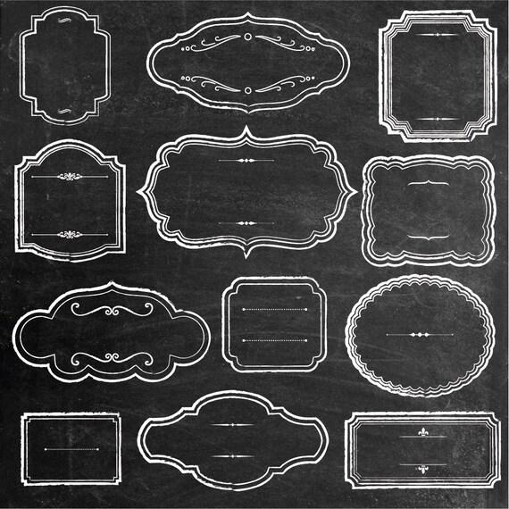 Rustic Chalk Frames Clipart Chalkboard Vintage