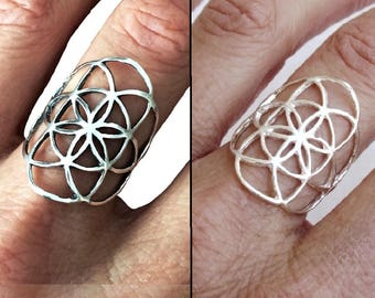 Sterling Silver Ring, Seed of Life Ring, Flower of Life Ring, Sacred Geometry Ring, Flower Ring, Mandala Ring, Spiritual Jewelry