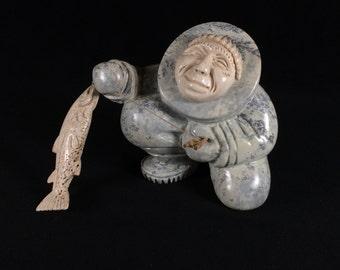 Kent Heindel Eskimo Fisherman Fossilized Whalebone and Ivory Sculpture Alaska Inuit