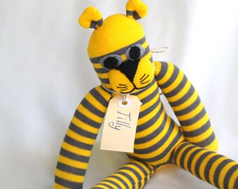 Tilly Tiger. Toy sock tiger for young child.  Plush cat. Softie.