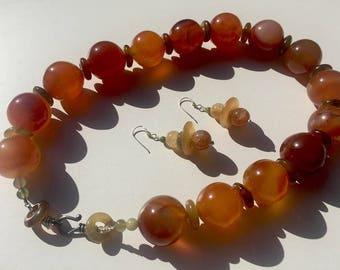 Carnelian Queen: Carnelian, jadeite, sterling silver. Necklace and earring set.