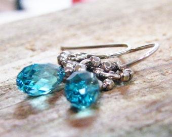 london blue faceted briolette crystal sterling silver earrings