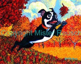Boston Terrier Autumn Seasonal Art Print by Mister Reusch