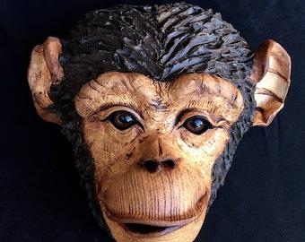 Handmade Ceramic Monkey Original Chimp Sculpture Cute Animal Art  Monkey Mask Wall Art African Home Decor Garden Art Unique Nature Gift