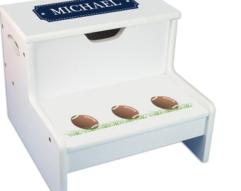 Personalized Footballs Childrens Step And Storage Stool
