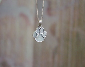 """Dog's Paw Pendant with 18"""" Chain Sterling Silver,Dog Jewelry,Doggie"""