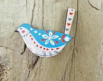 Blue Folk Bird Brooch