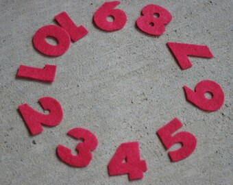 Felt Numbers 1 -10, single color set
