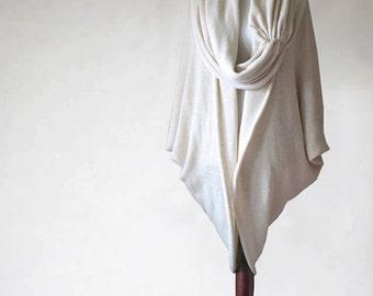 Womens cardigan, cashmere sweater, sweater cocoon, ecru poncho, wrap sweater, ecru sweater, open sweater, cashmere poncho, knit poncho