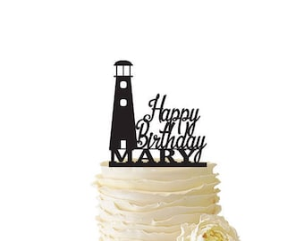 Happy Birthday with Lighthouse Personalized with Name - Standard Acrylic - 156