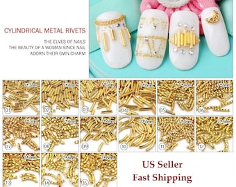 20pcs New 3D Nail Art Gold Rivet Alloy Metal Cylindri Studs Charm Decoration