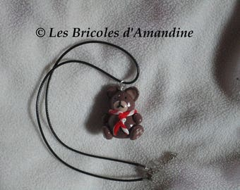 Polymer clay bear pendant necklace
