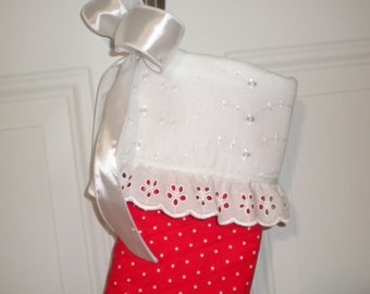 Quilted Christmas Stocking in Red and White Polka Dots with Eyelet Lace Trim and Satin Bow
