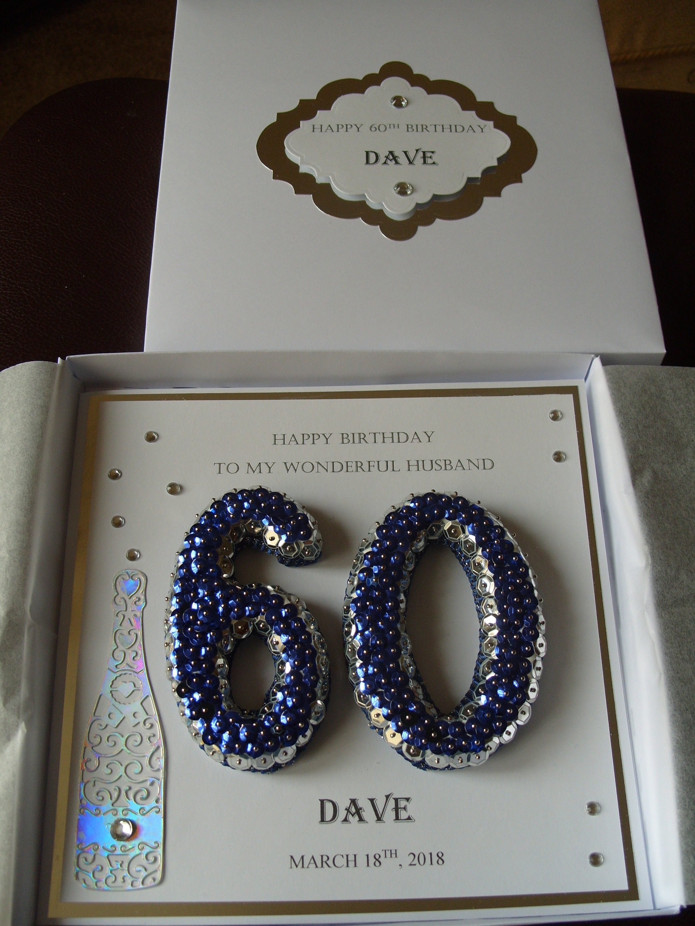 Handmade 60th Birthday Card Personalised