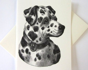 Dalmatian Dog Note Card Set of 10 in White or Light Ivory with Matching Envelopes