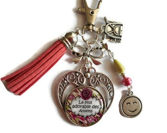 """Bag charm, door keys/home / """"The most adorable the Atsems"""" year end gift/party / thanks/Christmas/birthday"""