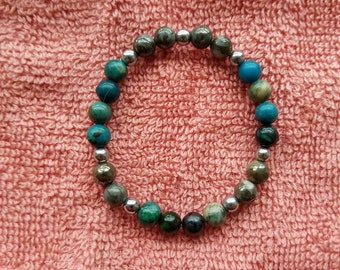 Chrysocolla, Gold and White Pyrite, Silver Hematite
