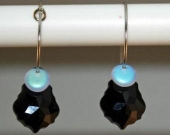 Baroque Black Crystal Hooped earrings