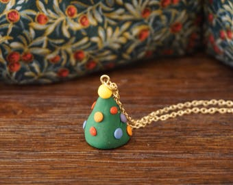 Polymer Clay Christmas Tree Necklace