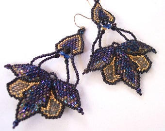 Mothwing Goth, Midnight Magic Art Nouveau Gold Chandelier Earring, Seed Bead Jewelry, Gift for Her,  24Karat Gold Vintage Crysral