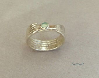 SALES - Raw modern sterling silver ring with Calcedony- Artisan Jewelry by Emilia-m