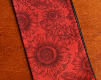 Sunflowers on Red, Set of 4 Napkins, Dinner Napkins, Cloth Napkins, Home Decor, Table Accents