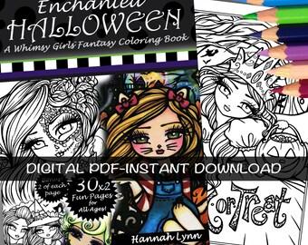PDF DIGITAL Printable Coloring Book Enchanted Halloween Whimsy Girls All Ages Fantasy Mermaid Fairy Art by Hannah Lynn