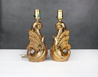 Gold Ceramic Art Deco Lamp PAIR