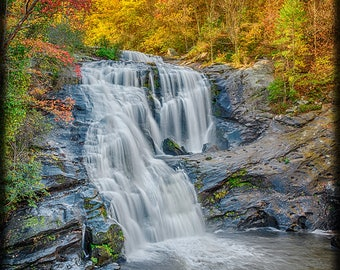 VERTICAL -- CLICK To See. Bald River Falls in Autumn E242. Waterfall, Smoky Mountains, Tennessee, Colorful, Mountain, Smokies, Landscape