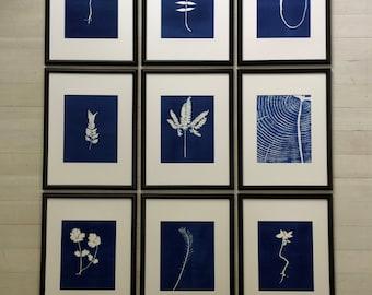 Set of 9 Botanicals, Framed Botanicals, blue botanical prints, Set of 9 framed, Real fern, real botanicals, handmade botanicals, Blue prints