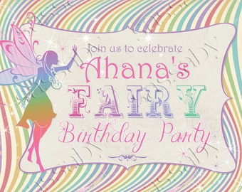 Rainbow Fairy Party Sign - INSTANT DOWNLOAD - DIY Editable & Printable Girls Birthday Decorations by Sassaby