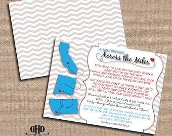 CUSTOM Baby Shower Invitation - Long Distance Baby Shower States Shapes