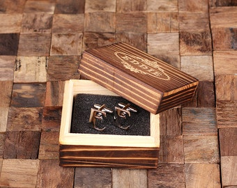 """Initial """"E"""" Personalized Men's Classic Cuff Link with Wood Box Monogrammed Engraved Groomsmen, Best Man, Father's Day Gift"""