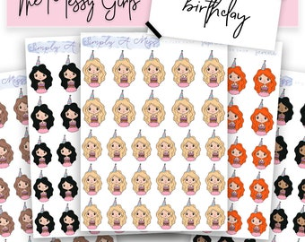 Birthday - The Messy Girls   Character Planner Stickers for Various Planners