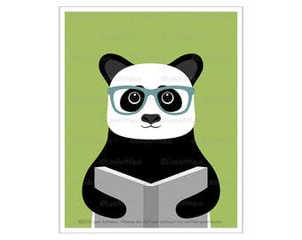 151A Panda Drawing - Panda Reading Book Wall Art - Library Decor - Reading Nook Poster - Panda Prints - Panda Art - Glasses Wall Art