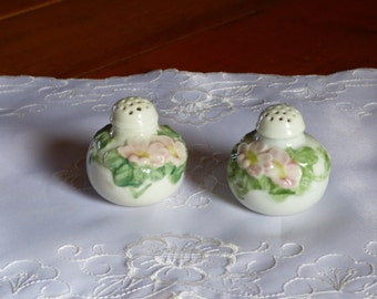 Porcelain Salt and Pepper with flowers
