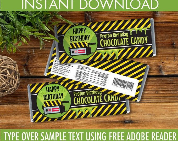 Ghostbusters Party Candy Bar Wrappers - Chocolate Labels, Ghostbusters Birthday, Self-Editing | DIY Editable Text INSTANT DOWNLOAD Printable