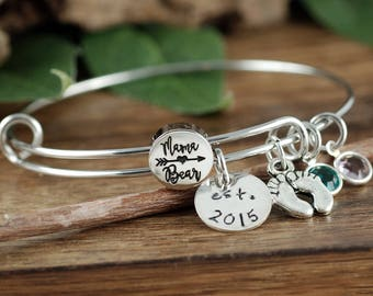 Mama Bear Bracelet, Personalized Birthstone Bracelet, Mama Charm Bracelet, Personalized Mama Bear Jewelry, Christmas Gift, Established Mom