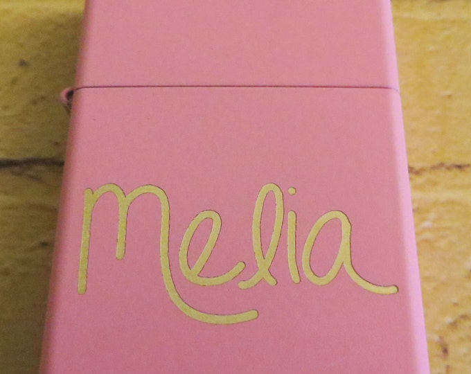 Handwritten Pink Zippo Your Handwriting Laser Engraved, Bridesmaid Gift, Personalized,