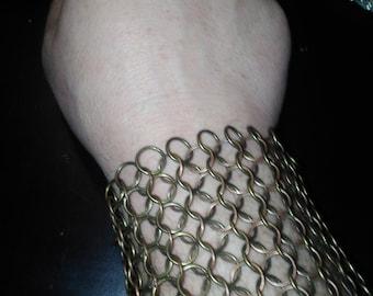 Antique bronze chain mail bracelet