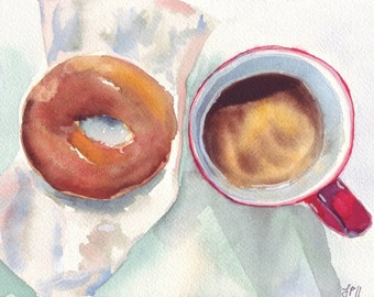 Watercolor Painting - Still Life - Red and Brown Coffee and Donut Art Print, 5x7