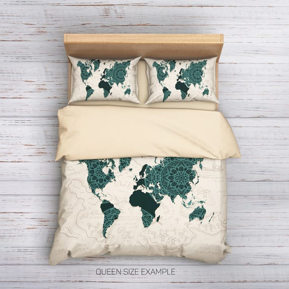 Boho world map bedding world map bedding boho bedding gumiabroncs Gallery